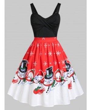 Plus Size Front Twist Snowman Print Christmas Vintage Dress