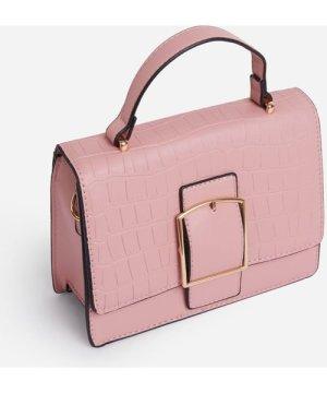 Koko Oversized Buckle Detail Cross Body Bag In Pink Croc Print Faux Leather