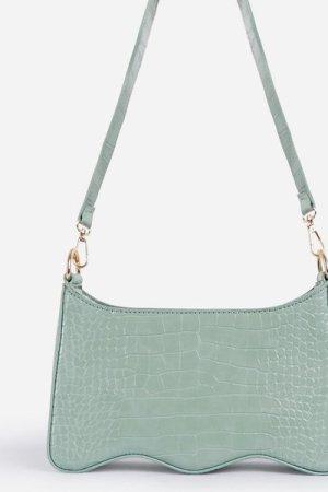 Ocean Wave Strap Shoulder Bag In Green Croc Print Patent