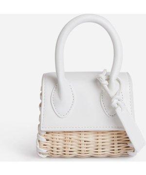 Sydney Mini Woven Grab Bag In White