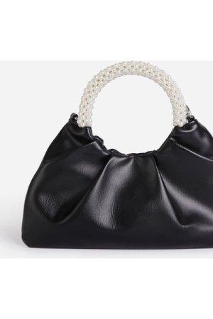 Meegan Pearl handle Detail Ruched Bag In Black Faux Leather