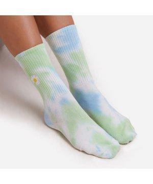 Flower Detail Tie Dye Sport Socks in Blue Multi