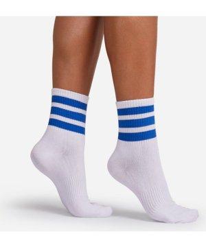 Blue Triple Striped Sport Sock In White