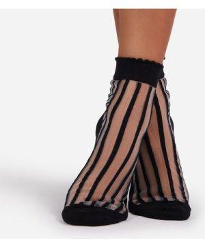 Stripe Detail Ankle Socks In Black Mesh