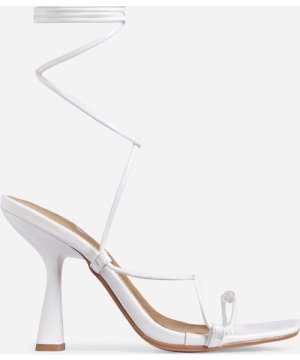 Strider Lace Up Square Toe Kitten Heel In White Patent