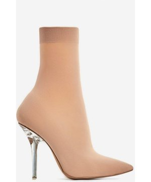 Doll Clear Perspex Heel Ankle Sock Boot In Nude.5