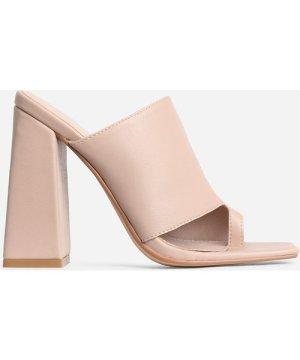 Anfo Square Peep Toe Flared Block Heel Mule In Nude Faux Leather