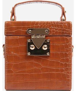Storm Cross Body Box Bag In Tan Brown Patent