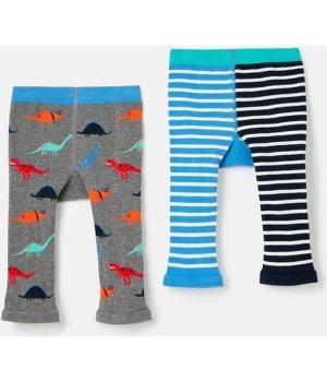 Joules Baby Boys Lively Character Knit Leggings 2 Pack - MULTI DINOSAUR
