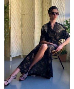 GLORIA KIMONO WRAP DRESS. Black Sky Print by Tallulah & Hope