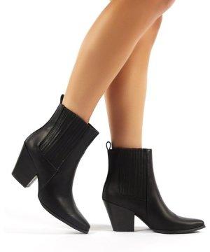 Hazy Black Block Heeled Ankle Boots - US 6