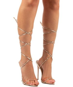 Lush Gold Lace Up Strappy Stiletto Heels - US 6