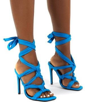 Convo Blue Neoprene Knotted Lace Up Stiletto High Heels - US 6