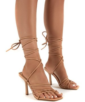 Haute Nude Square Toe Strappy Lace Up Heels - US 7