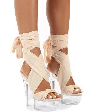 Secrets Nude Platform Ribbon Tie Wrap Around Ankle Heels - US 8