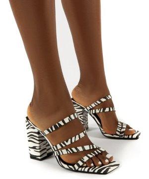 Kalia Wide Fit Zebra Block Heel Strappy Mules - US 9