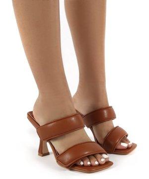 Kora Tan Velcro Double Strap Square Toe Heeled Mules - US 5