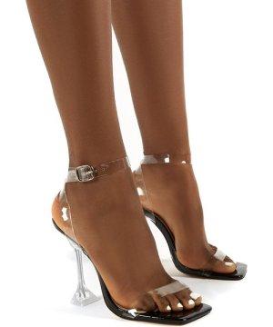Yasmyn Black Patent Perspex Clear Strap Heels - US 9