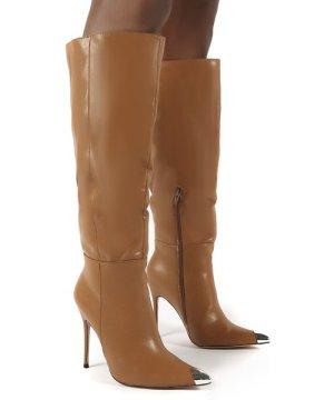 Forgive Tan Pu Wide Fit Heeled Knee High Boots - US 10