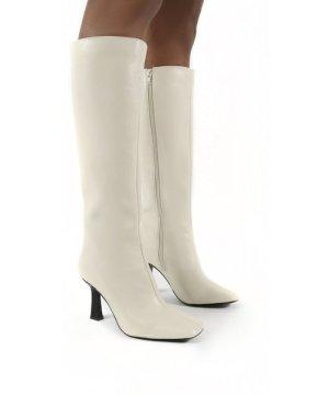 Repeat Bone Pu Heeled Knee High Boots - US 5