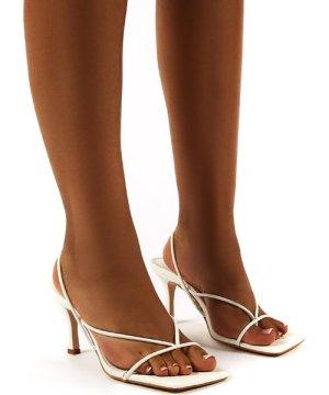 Annika White Wide Fit Strappy Heels - US 5