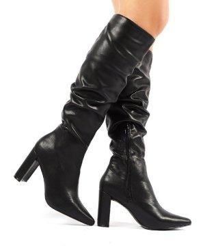 Mine Black PU Knee High Boots - US 9