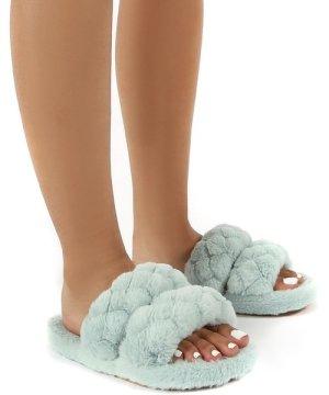 Minky Mint Fluffy Double Strap Slippers - US 9