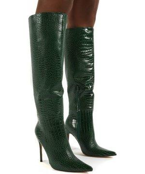 Aimi Green Croc Knee High Stiletto Heel Boots - US 5