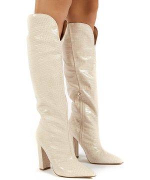 Slow Nude Croc Knee High Block Heel Boots - US 6