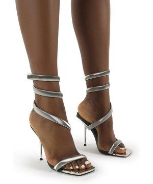 Axel Silver Ankle Wrap Around Stiletto Heels - US 10