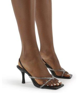 Annika Black Croc Diamante Wide Fit Square Toe Strappy Heels - US 8