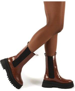 Blame Tan Chunky Sole Calf High Boots - US 8