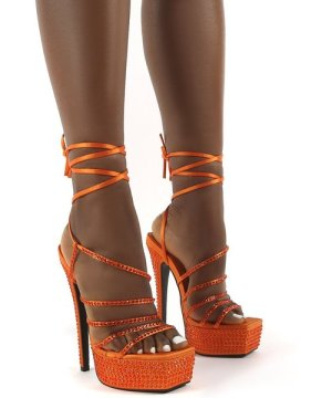 Rendezvous Orange Platform Square Toe Diamante Tie Ankle High Heels - US 7