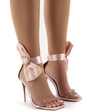 Moda Nude Square Toe Heart Diamante Stiletto Heels - US 5