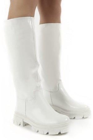 Sabrina White Knee High Chunky Sole Boots - US 6
