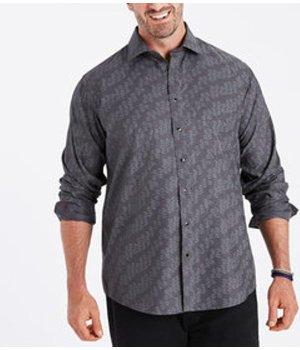 Tonal Jacquard Non-Iron Sport Shirt With Contrast Trims