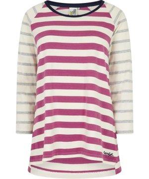 Weird Fish Ana 3/4 Sleeve Cotton T-Shirt Magenta Size 8
