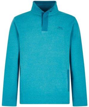 Weird Fish Folk Button Neck Sweatshirt Pagoda Blue Size 4XL