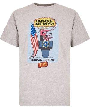 Weird Fish Hake News Front Print Artist T-Shirt Grey Marl Size 5XL
