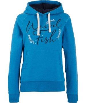 Weird Fish Anya Branded Popover Hooded Sweatshirt Blue Wash Size 8