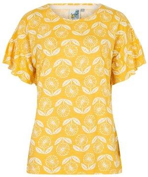 Weird Fish Hazel Patterned Jersey T-Shirt Sunshine Yellow Size 16