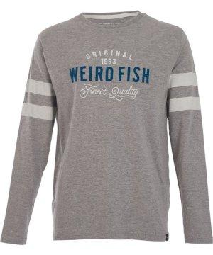Weird Fish Willand Applique Long Sleeve T-Shirt Grey Marl Size 4XL