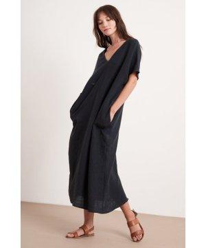 Velvet Yana Linen Caftan Dress - Black