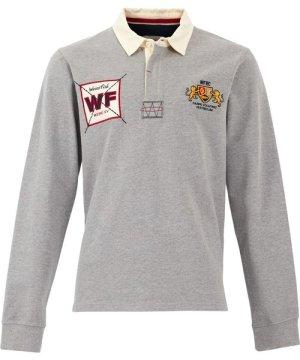 Weird Fish Higton Organic Cotton Rugby Shirt Grey Marl Size M