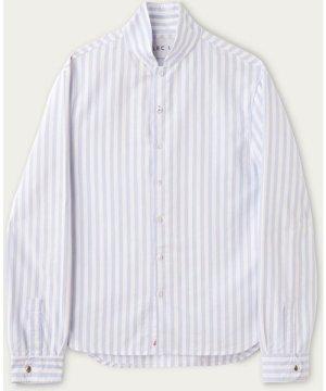 Blue and White Stripe Cotton Shawl Collar Casual Shirt