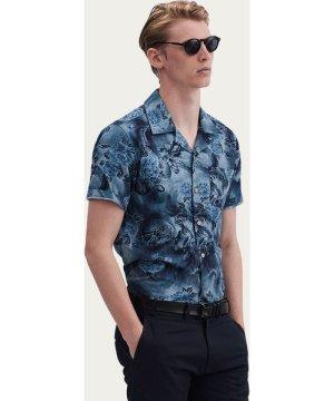 Blue Cuban Short Sleeve Shirt | Meiji Bloom