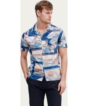 Blue Cuban Short Sleeve Shirt | Ukiyo-e Scene