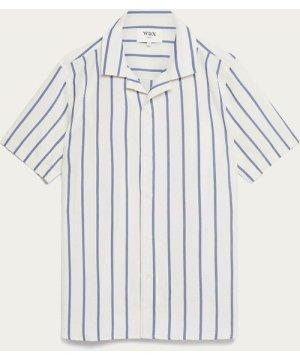 Navy Seersucker Stripe Didcot Short Sleeve Shirt