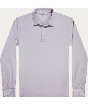Carrara Grey Ultra-Soft Long Sleeve Polo Shirt