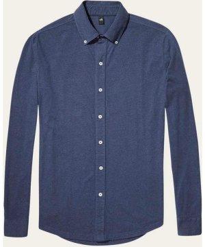Navy Fleming Jersey Button-Down Shirt